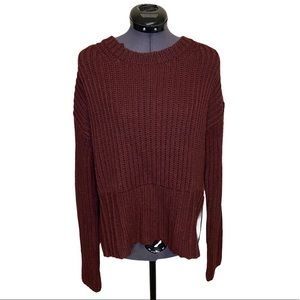 Cloth by RD Burgundy Knitted Longer Back Sweater